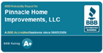 Pinnacle Home Improvements A Plus BBB Rating